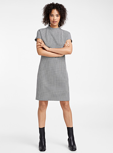 Houndstooth high-neck dress