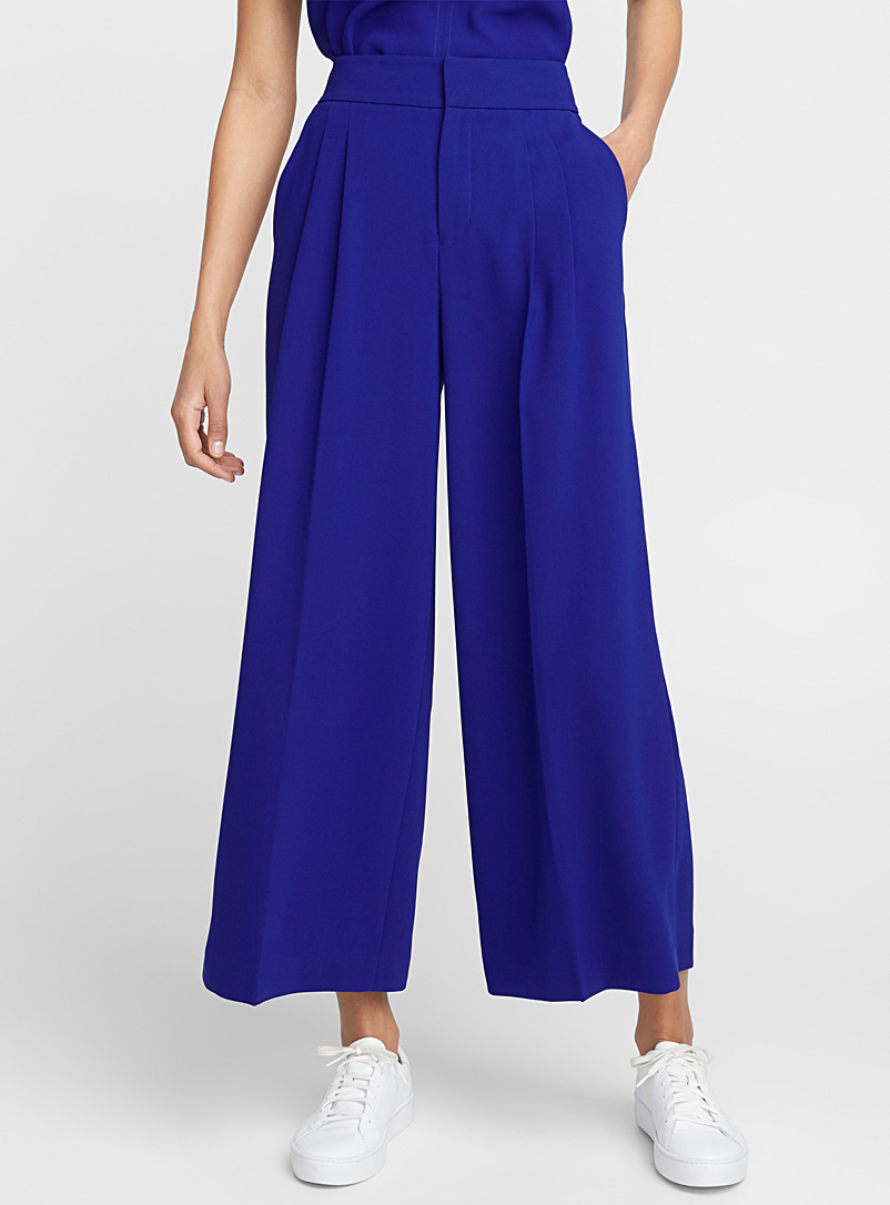 Pleated high-rise culottes - Pants - Sapphire Blue