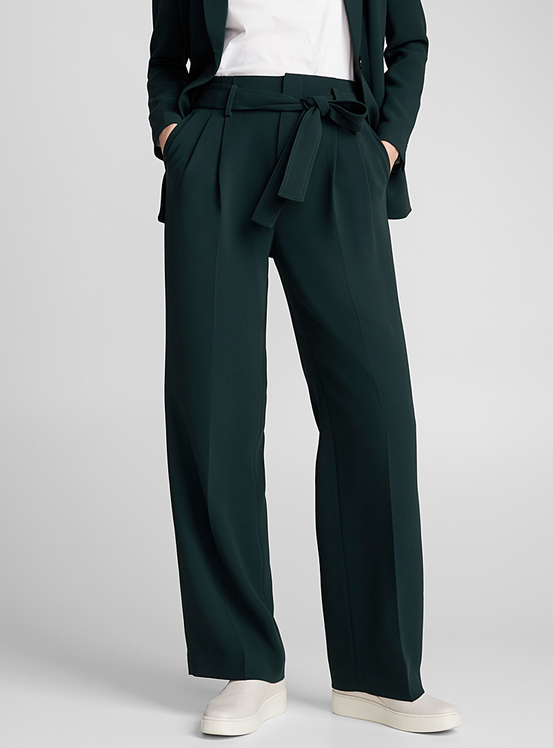 Tie-waist wide-leg suit pant - Pants - Kelly Green