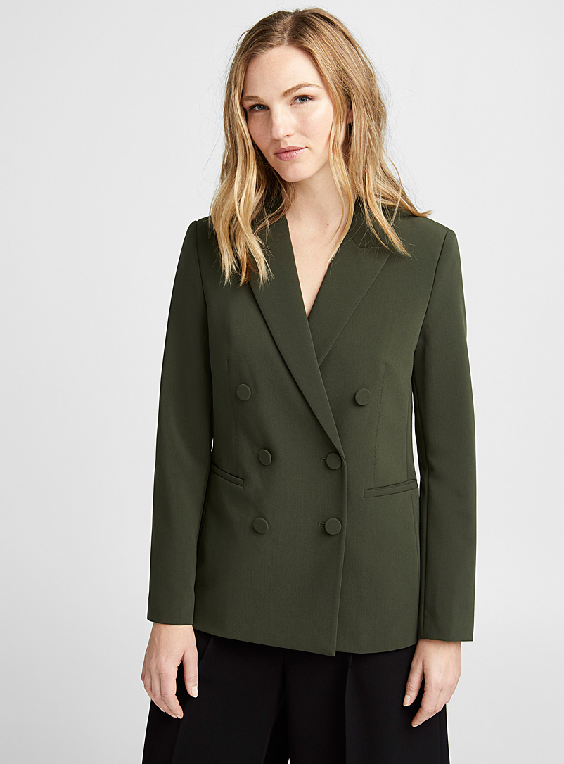 Covered buttons double-breasted blazer - Blazers - Mossy Green
