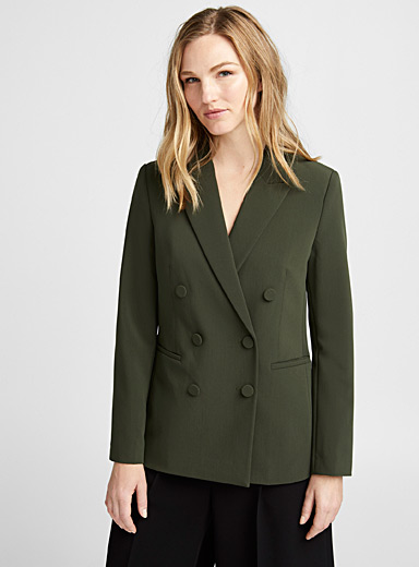 Covered buttons double-breasted blazer