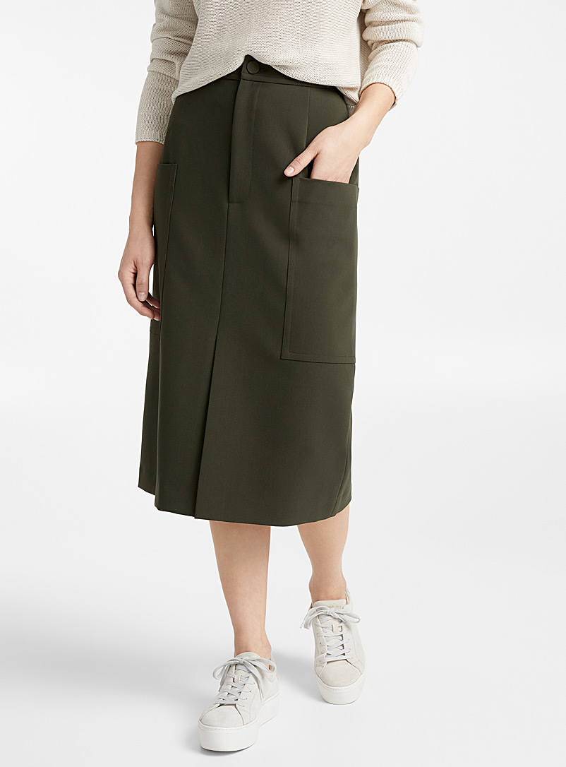 Patch pocket midi skirt - Skirts - Mossy Green