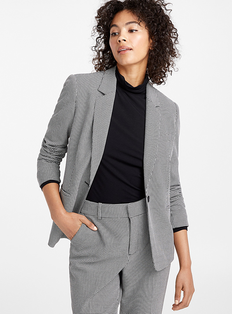 Single-button houndstooth jacket - Blazers - Black and White