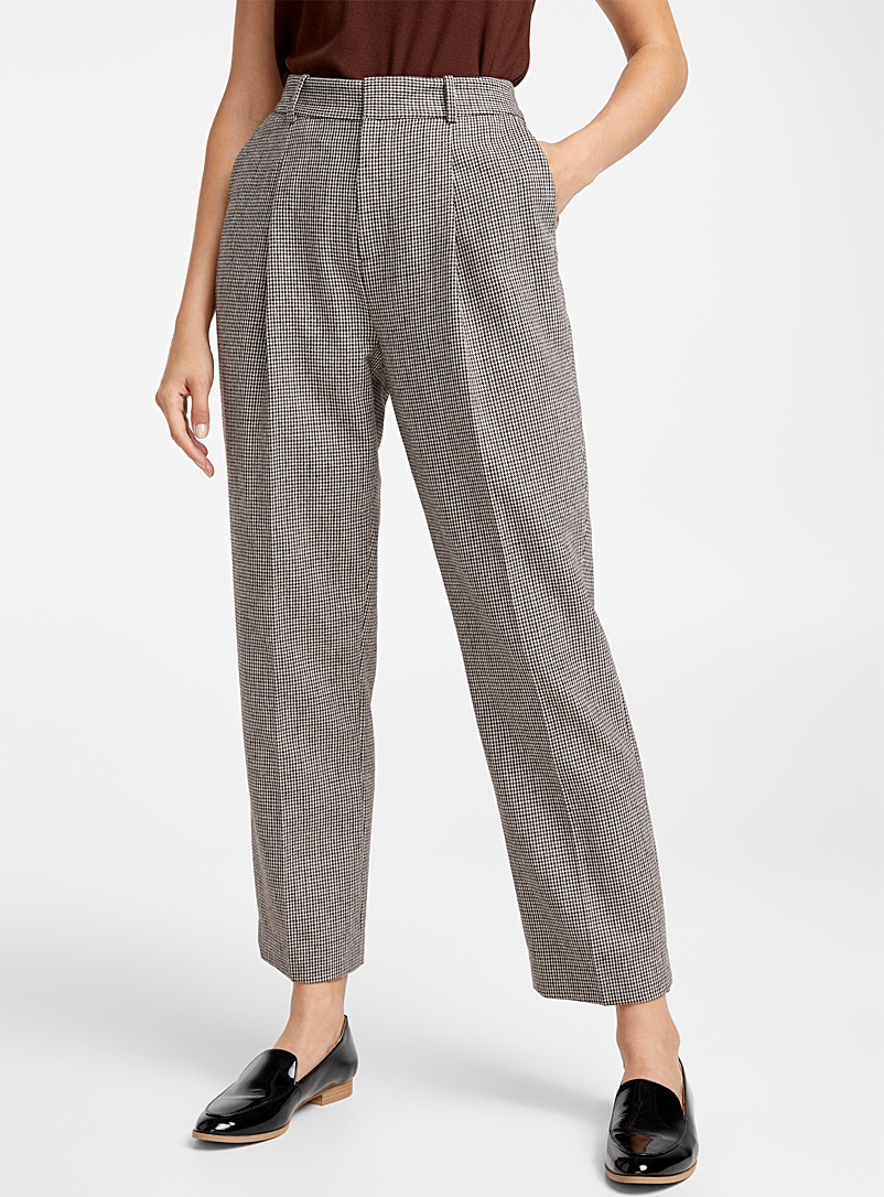 Houndstooth wool straight pant - Pants - Patterned Brown