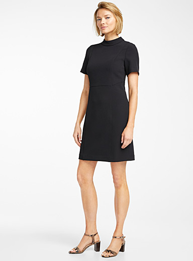 Stretch mock-neck dress