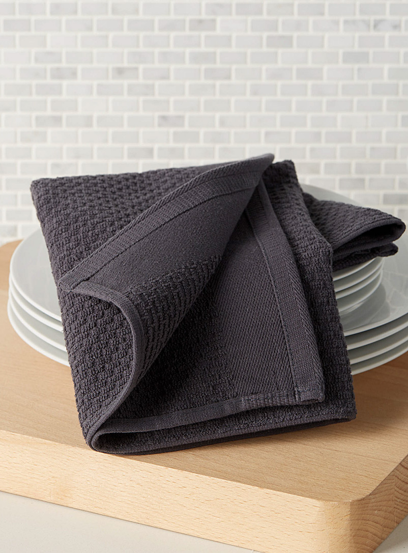 Textured terry cook's towel - Kitchen Linens - Charcoal