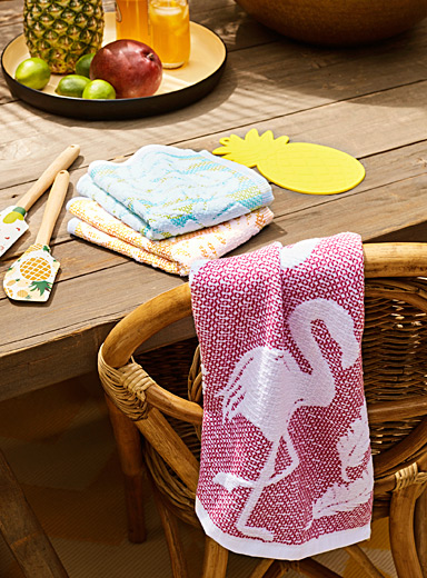 Pink flamingo kitchen towel