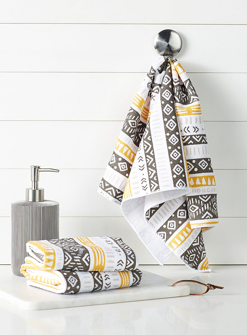 Expression zone microfibre tea towels  Set of 3 - Kitchen Linens - Patterned Grey