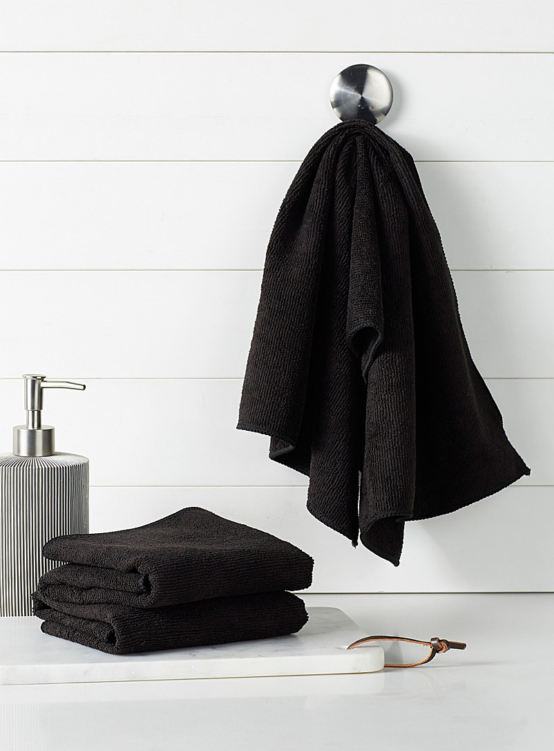 Simons Maison Black Solid microfibre tea towels  Set of 3