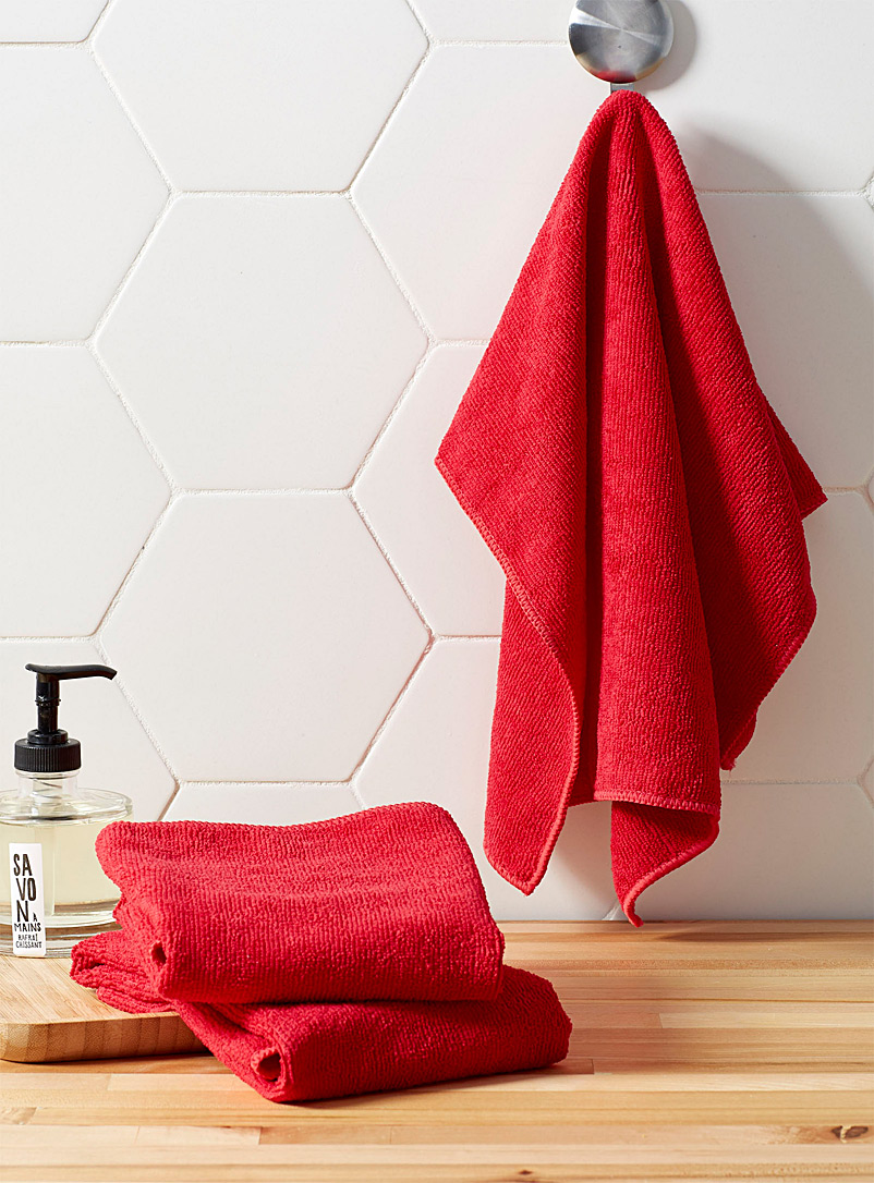 Solid microfibre tea towels  Set of 3 - Kitchen Linens - Cherry Red