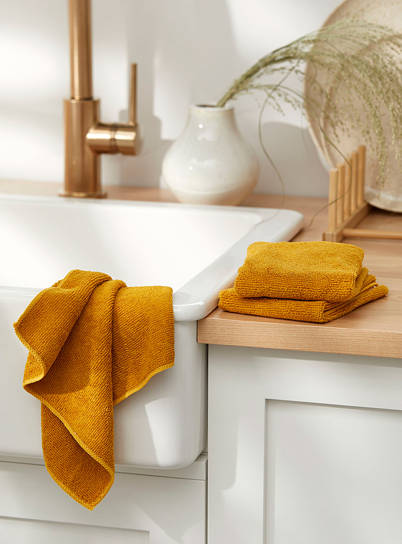 Simons Maison Dark Yellow Solid microfibre dishcloths  Set of 3