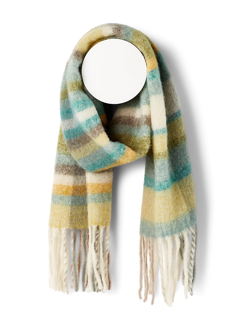 Simons Patterned Green Multicolour check downy scarf for women