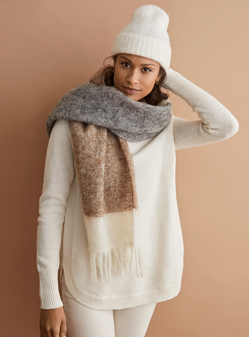 Simons Assorted brown  Monochrome wool scarf for women