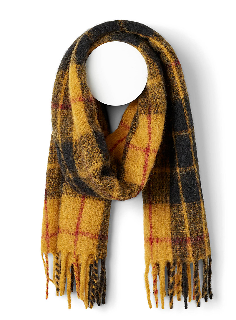 Le 31 Patterned Yellow Pop tartan mohair scarf for men