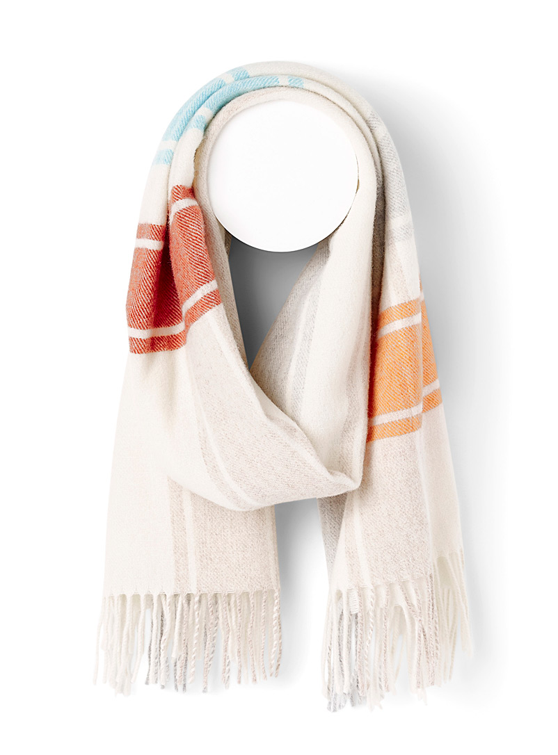 Simons Assorted white Multicolour tartan felt scarf for women