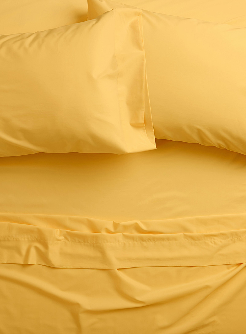 Simons Maison Bright Yellow Bamboo rayon and cotton 300-thread-count sheet set Fits mattresses up to 16 in.