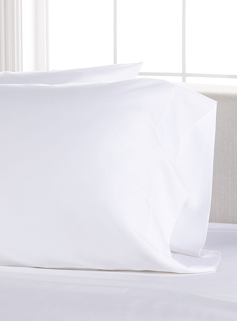 Bamboo rayon and cotton pillowcases, 300 thread count - Pillowcases - White