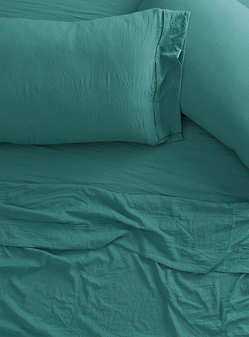 Simons Maison Blue Washed microfibre sheet set  Fits mattresses up to 15 in.