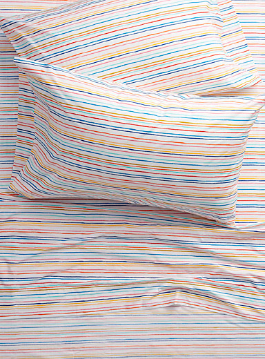 Simons Maison Assorted Parasol-stripe percale plus 200-thread-count sheet  Fits mattresses up to 15 in.