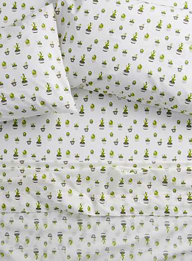Succulents percale plus sheet, 200 thread count <br>Fits mattresses up to 15 in.