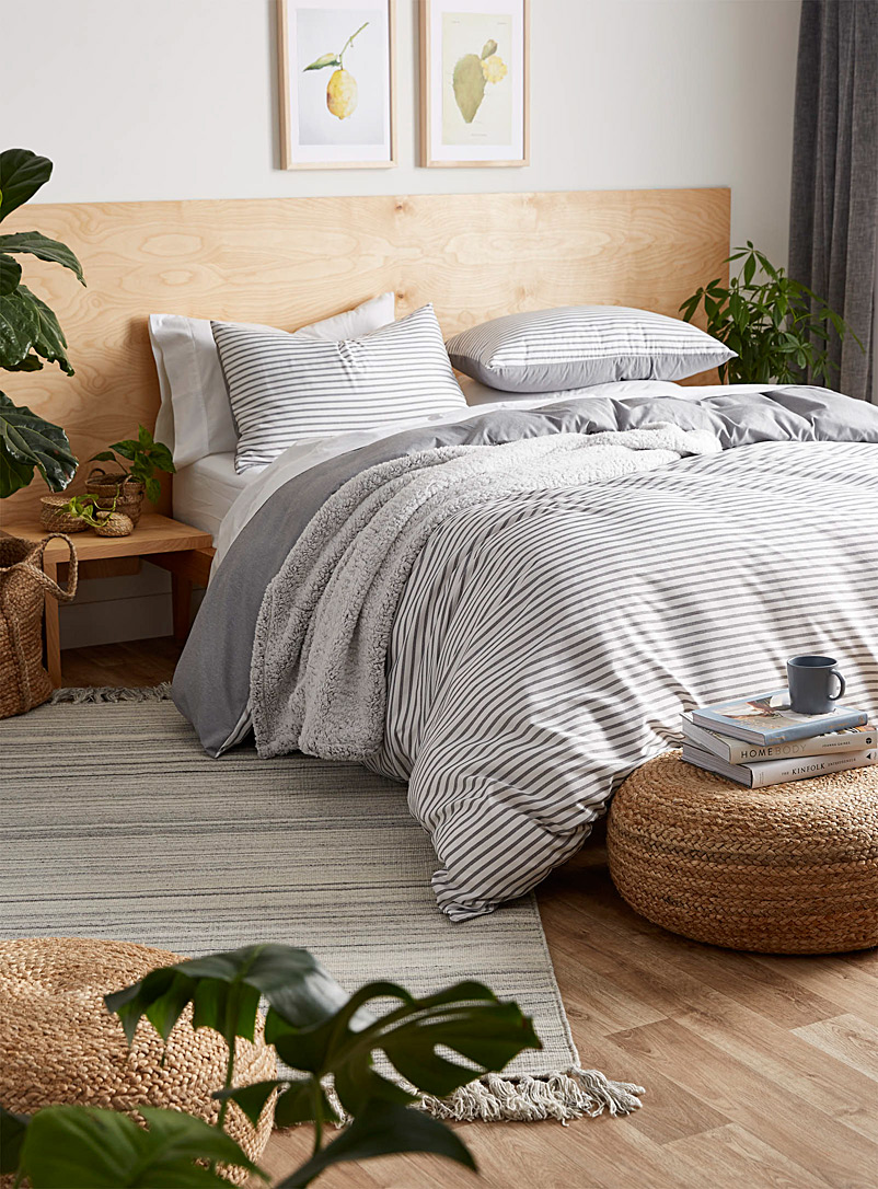Chambray stripe duvet cover set - Duvet Covers - Grey