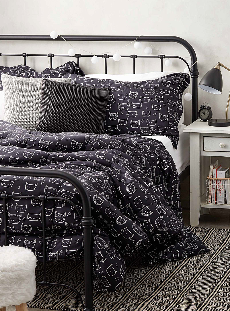 Simons Maison Dark Grey Purring kittens comforter set