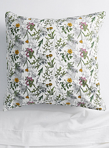 Drawn flower Euro pillow sham