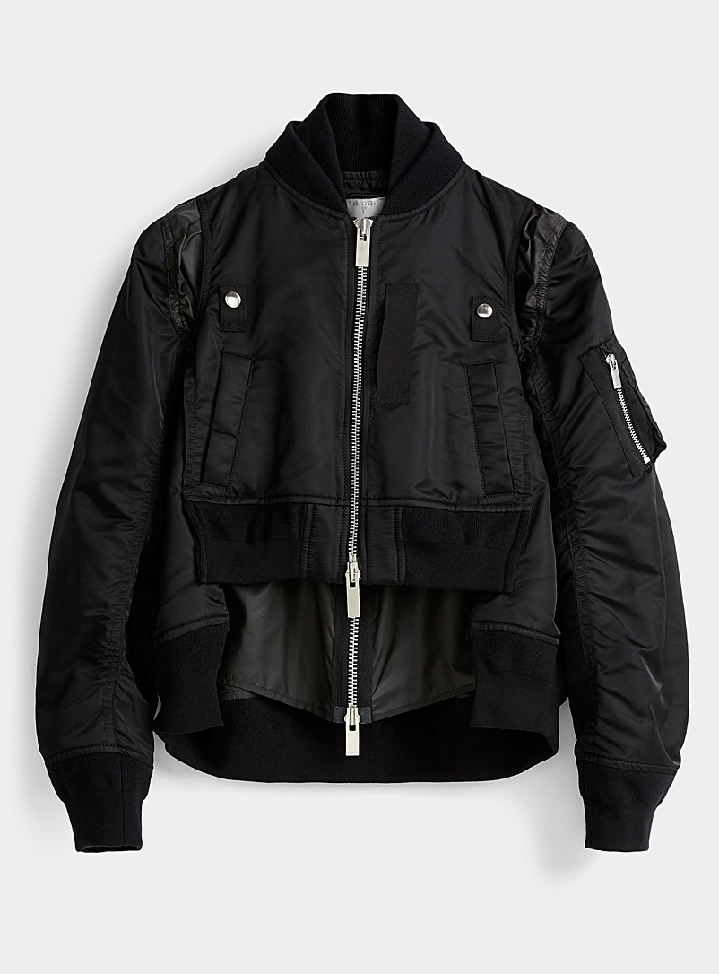 Sacai Black Layered-like bomber jacket for women
