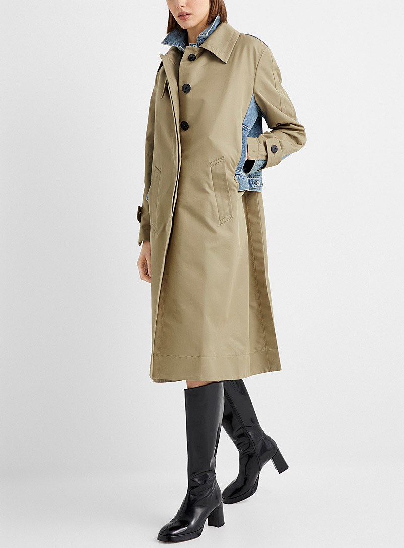 Sacai Sand Cotton and denim hybrid trench coat for women