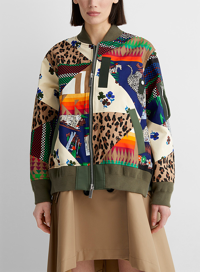 Sacai Assorted Multi-pattern bomber jacket for women