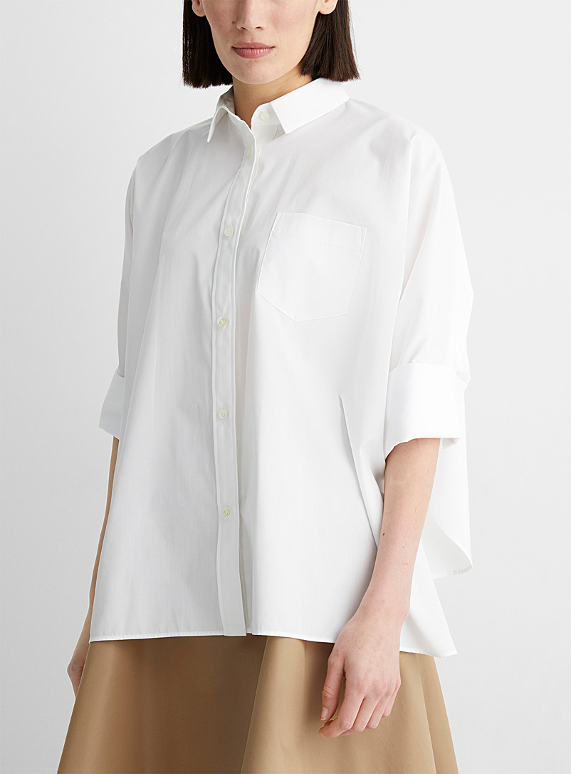 Sacai White Structured-sleeve well thought shirt for women