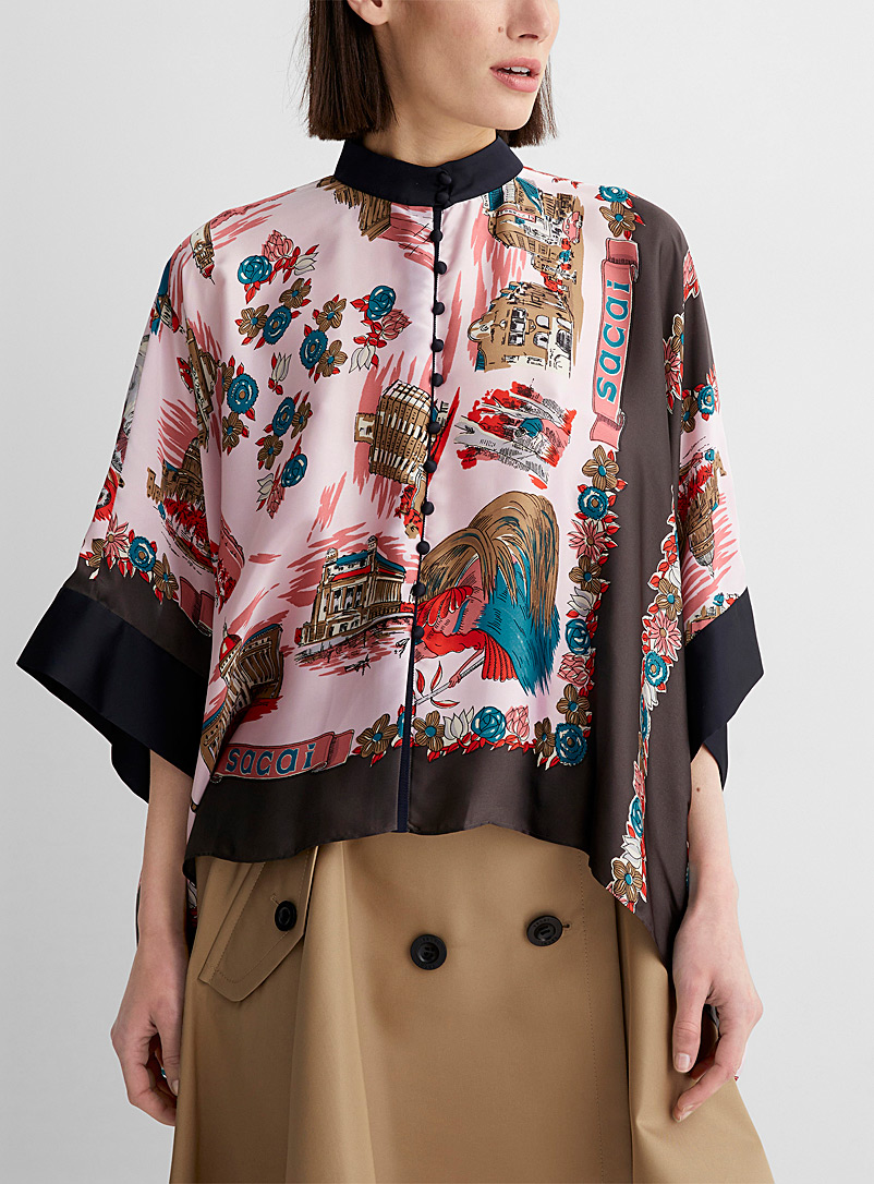 Sacai Pink Archive pattern loose blouse for women