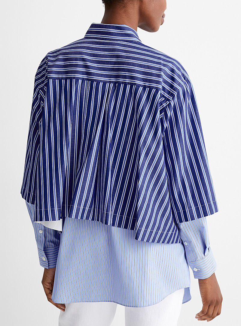 Sacai Patterned Blue Striped layered shirt for women