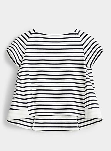 Sacai Marine Blue Striped knit flared T-shirt for women