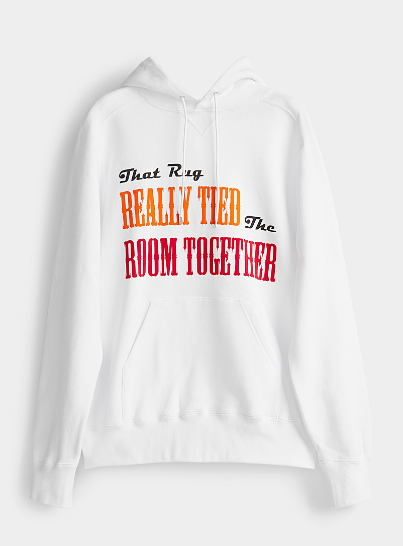 Sacai White The Big Lebowski quote hoodie for women