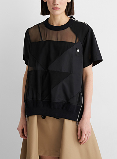 Sheer geometric blouse