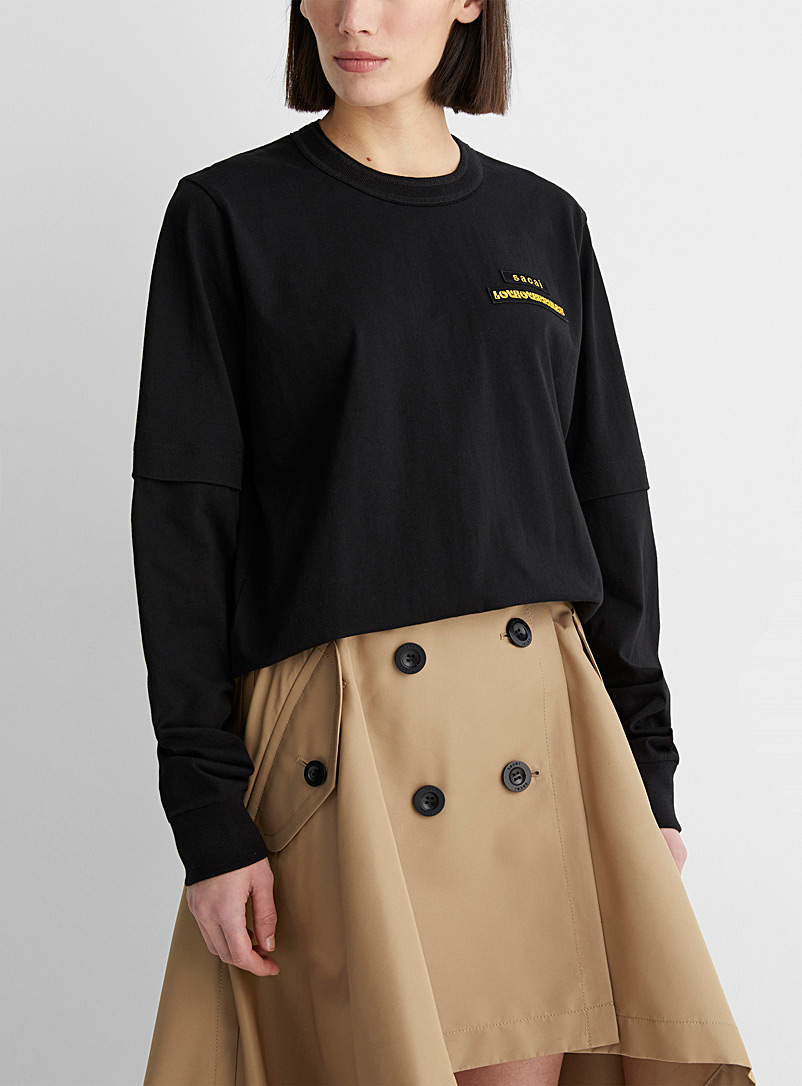 Sacai Black Layered look Love Over Rules T-shirt for women