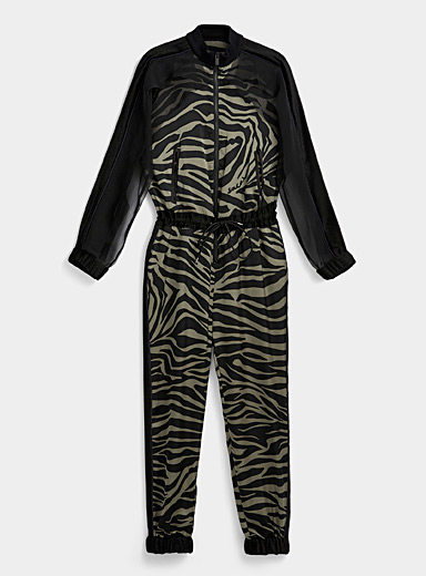 Sacai Khaki Silky ruffle striped jumpsuit for women