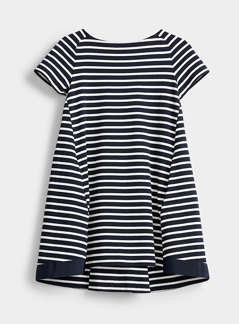 Sacai Marine Blue Striped knit flared dress for women