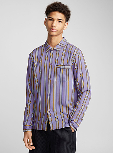 Purple vertical stripe shirt