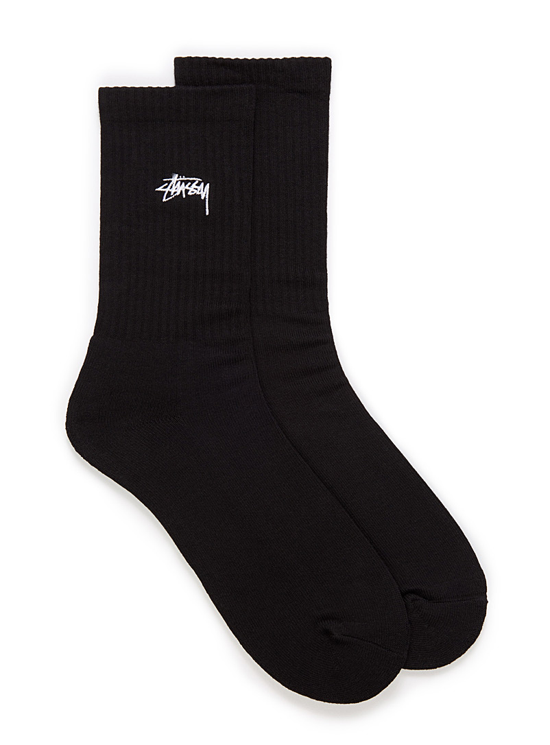 Stüssy Black Embroidered logo ribbed socks for men