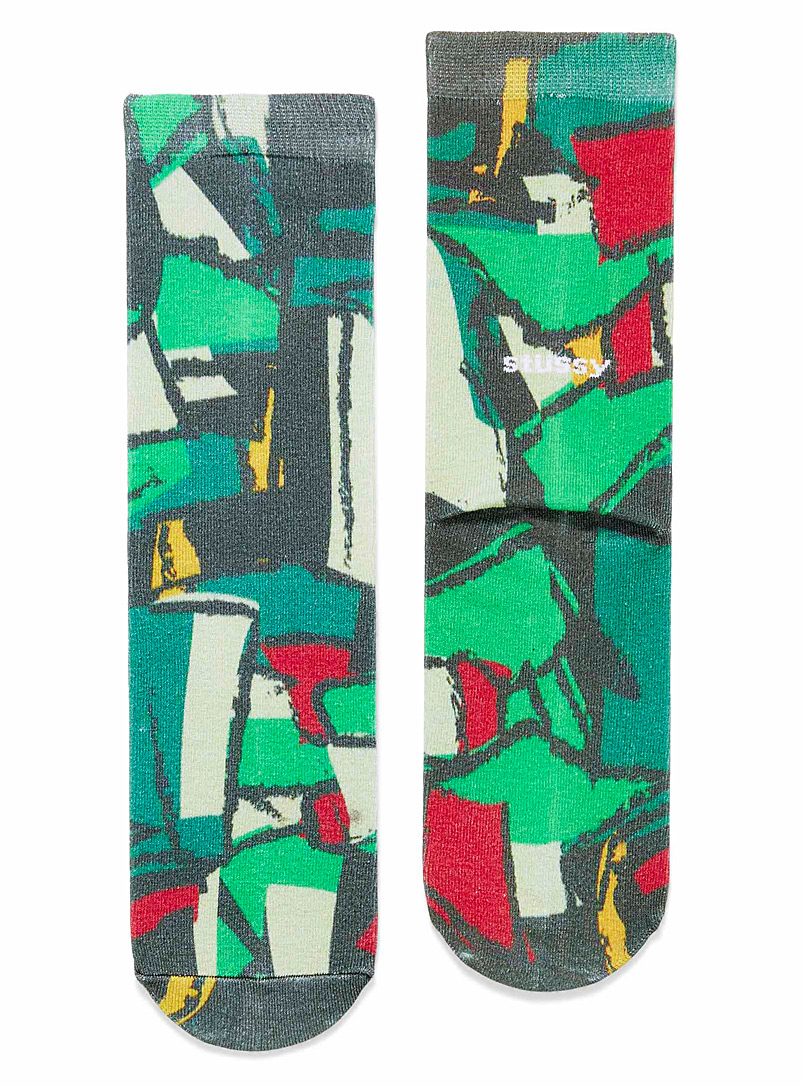 Stüssy Patterned Green Abstract art socks for men