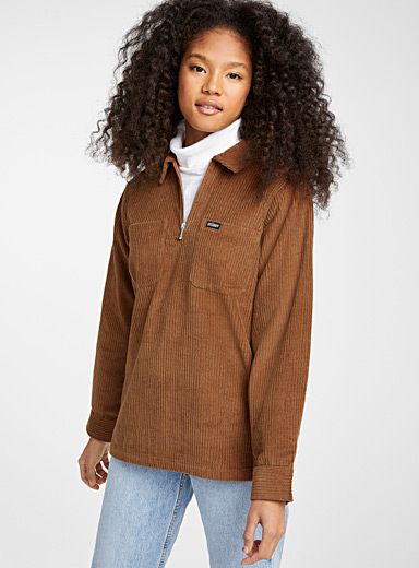 Corduroy sweater-like overshirt