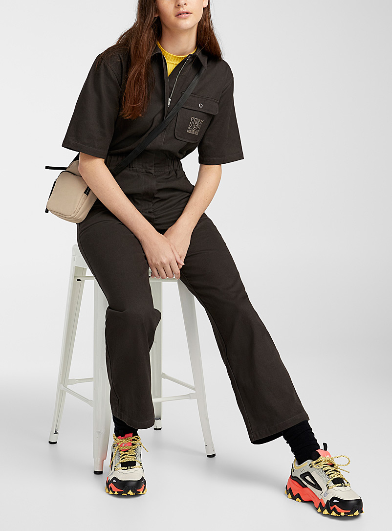 Stüssy Black Shiny embroidery workwear jumpsuit for women