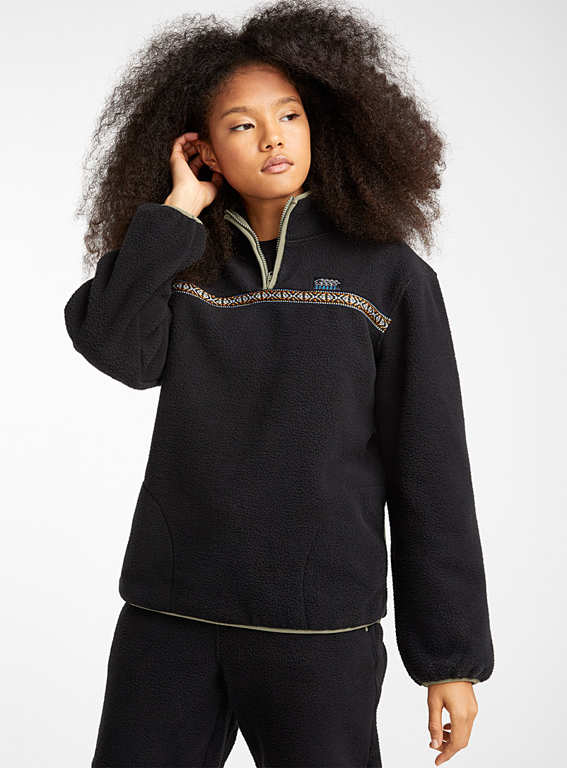 Woven band fleece sweatshirt - Sweatshirts & Hoodies - Black