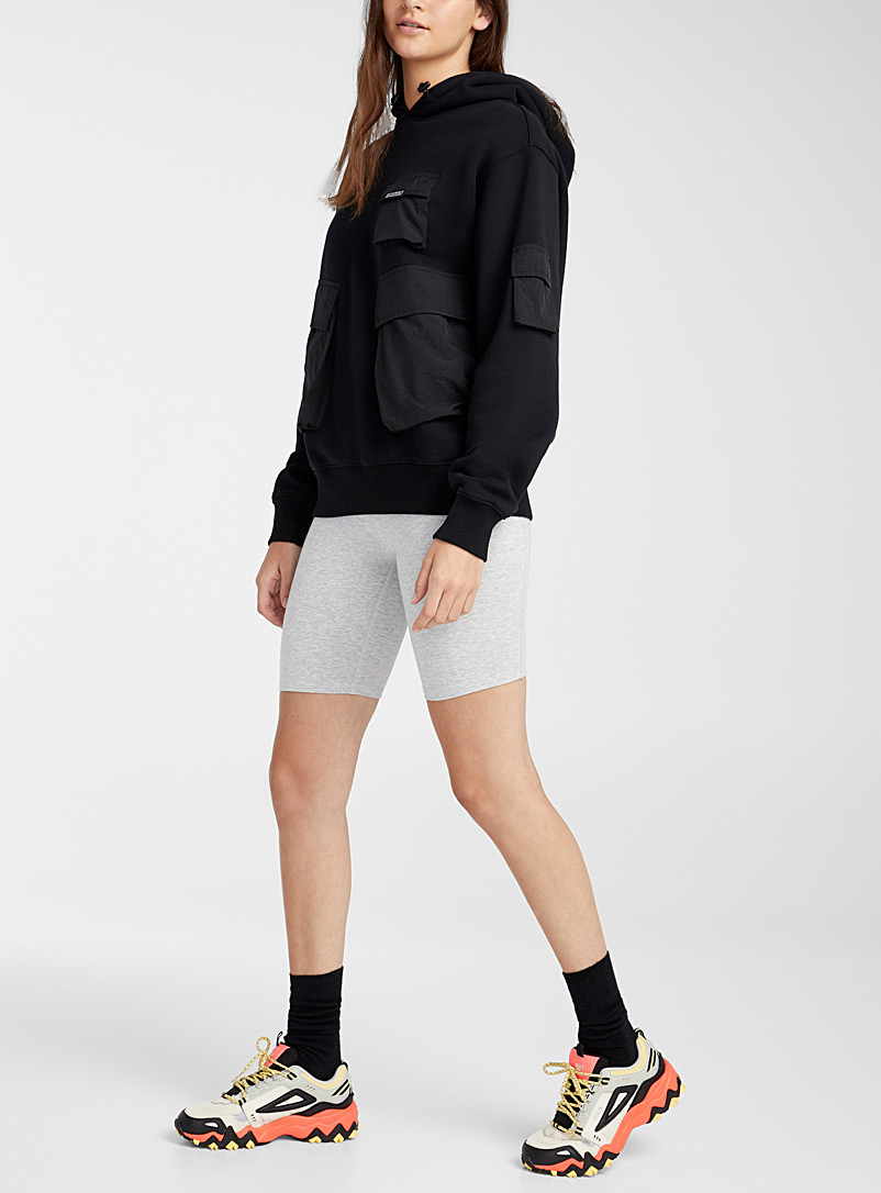 Stüssy Black Nylon pockets hoodie for women