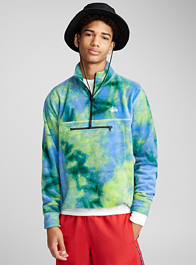 Tie-dye polar fleece half-zip
