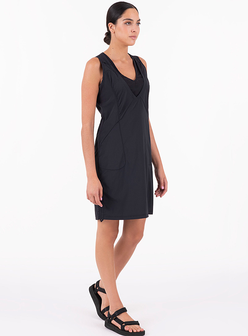 Indygena Black Mesh V neck outdoor dress for women