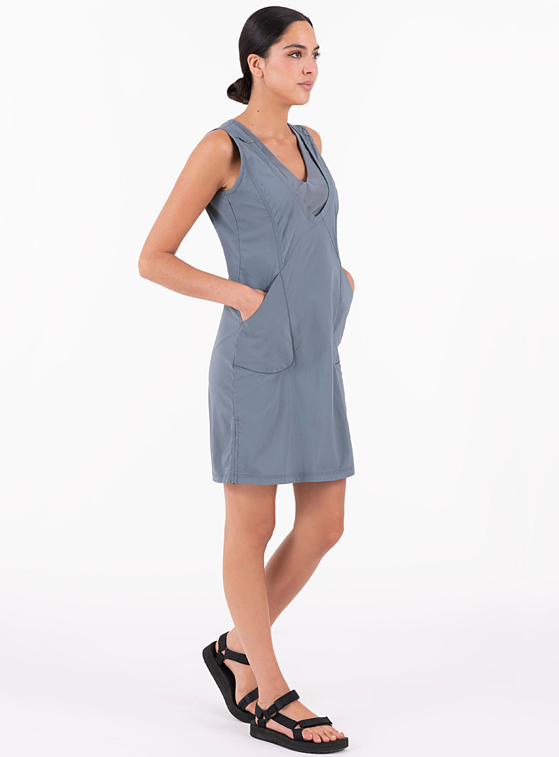 Indygena Slate Blue Mesh V neck outdoor dress for women