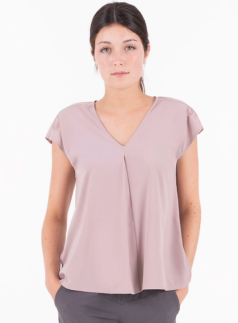Indygena Pink Karui pleated V-neck blouse for women